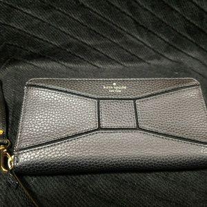 Kate Spade Black Pebble Leather Bow Zip Around